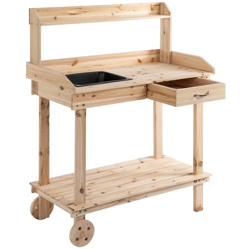 Plantentafel met schuiflade 2 niveaus tuintafel met gootsteen en wielen hout