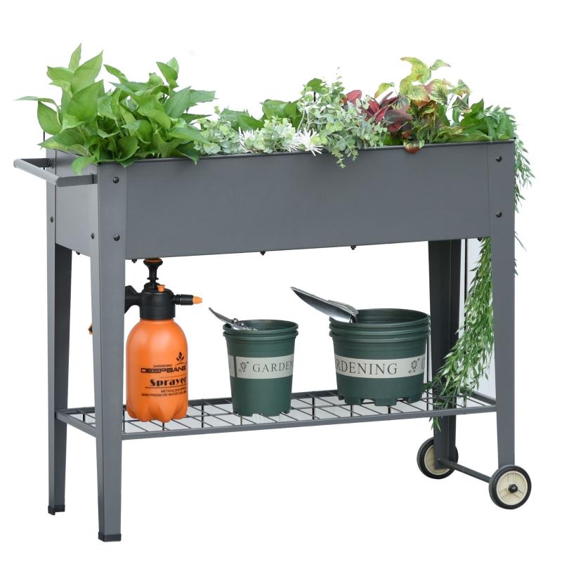Verhoogd bed met wielen en plank kruidenbed plantenbed metaal kunststof grijs