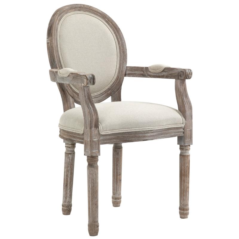 Eetkamerstoel met armleuningen, retro design gestoffeerde stoel, crème wit hout