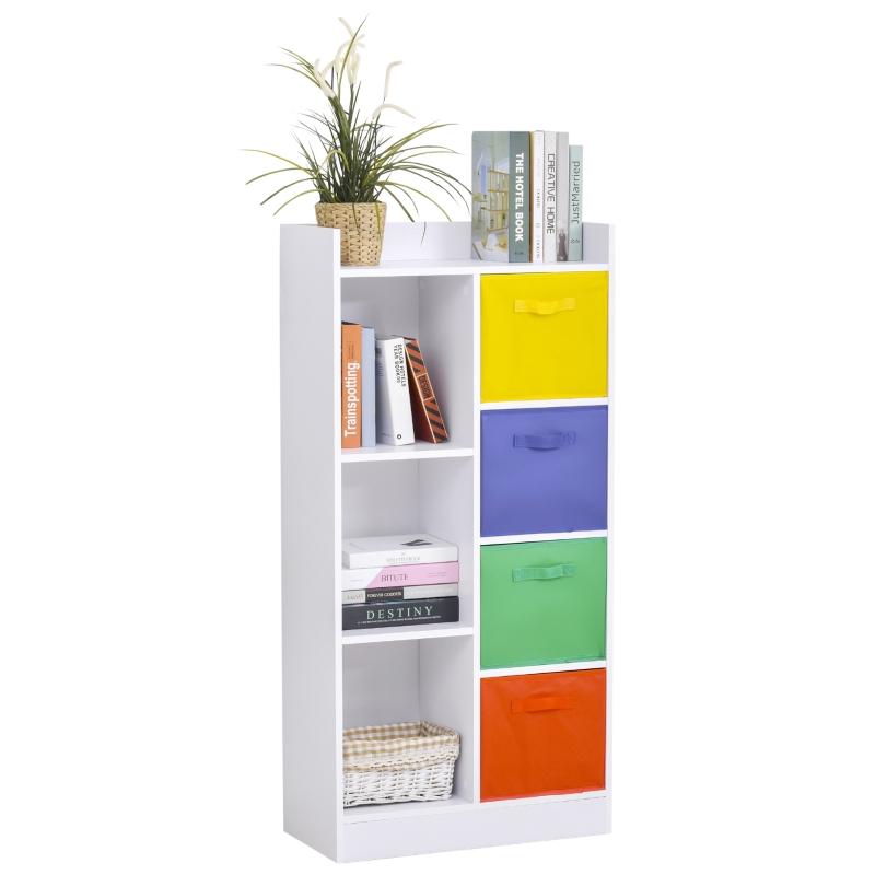 Boekenrek boekenkast witte staande kast archiefkast met kleurrijke stoffen dozen