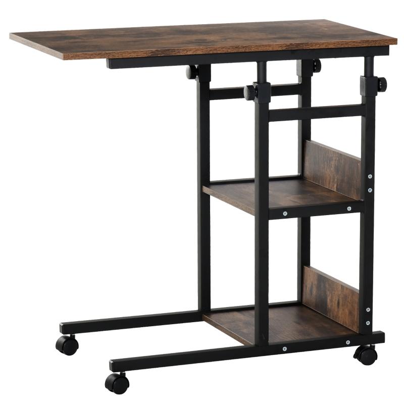 Bijzettafel salontafel met wielen in hoogte verstelbaar 2 onderste planken eetkamer