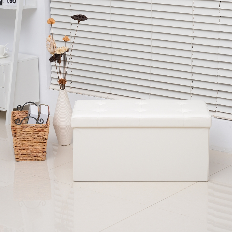 Homcom Faux Leather Folding Storage Ottoman Bench Foot Rest Stool Seat Versatile