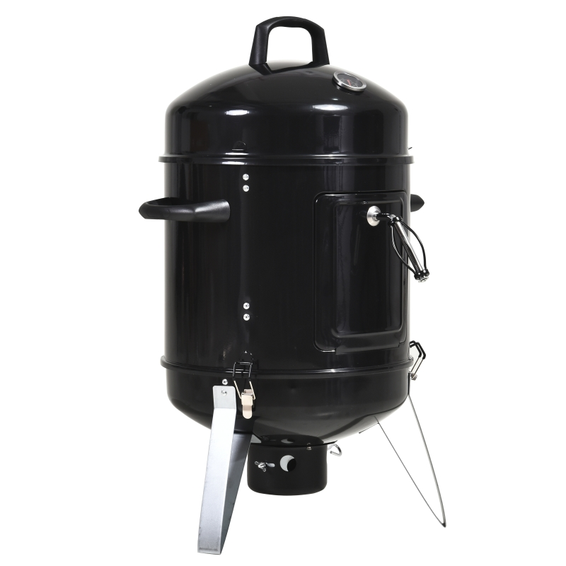 Outsunny Steel 3 in 1 Charcoal Smoker Grill w/ Thermostat Black