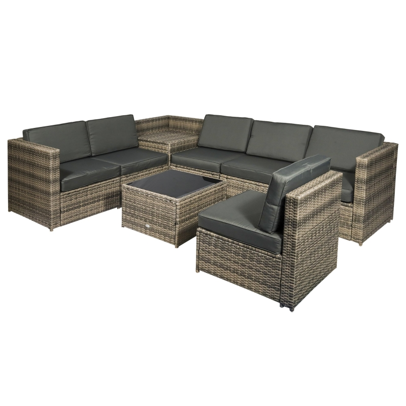Outsunny 8Pcs Patio Rattan Seating Garden Furniture Set Table w/ Cushions 6 Seater
