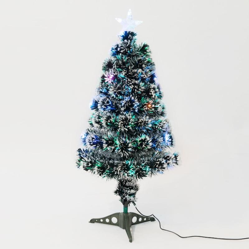 HOMCOM 3ft 90cm Green/White Artificial Christmas Tree W/ Prelit LED Lights-Multicolor