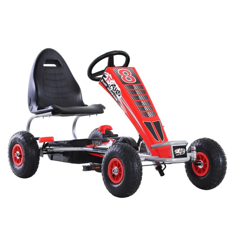 Homcom Pedal Go Kart Children'S Go Karts Ride On Car Racing Style W/ Adjustable Seat Handbrake & Clutch -Red