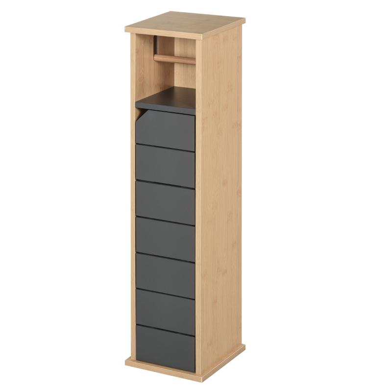 HOMCOM Bamboo Freestanding Tall Toilet Paper Cabinet Grey/Oak