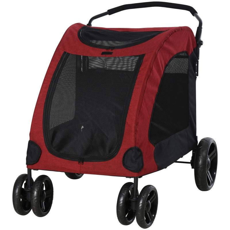 PawHut Small-Medium Dog Trailer w/ Mesh Windows Large Door 4 Wheels Cushion Red
