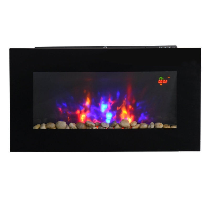 HOMCOM 1000W Wall Mounted Tempered Glass Electric Fireplace Heater Black