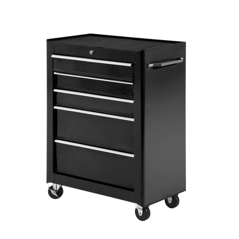 HOMCOM Steel 5-Drawer Rolling Tool Storage Cabinet Black