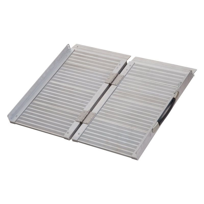 """HOMCOM Folding Aluminum Ramp W/Handle for Wheelchairs/Scooters/Pet Mobility 24"""""""