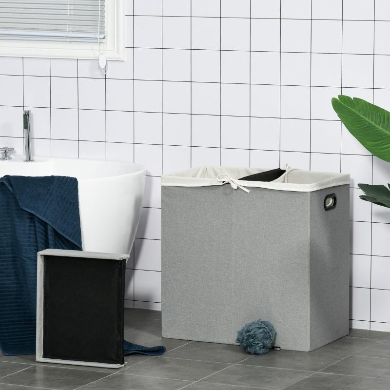HOMCOM 115L Folding Laundry Hamper Storage Basket 2 Sections w/ Lid Removable Liner