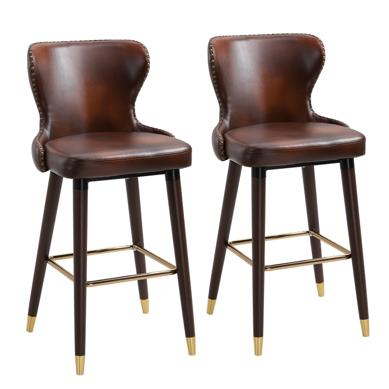 HOMCOM PU Leather Upholstered Set-of-2 Bar Chairs Brown