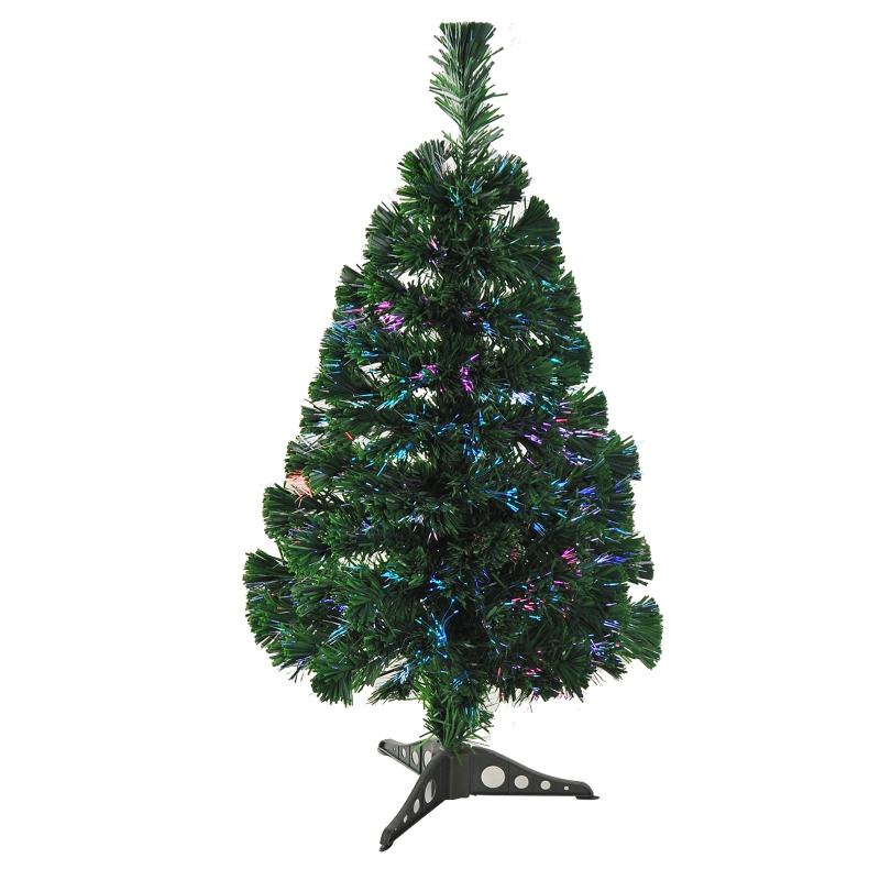 HOMCOM 60cm Pre-Lit Fiber Optic Christmas Tree Artificial Spruce Tree Multi-Color w/ Stand