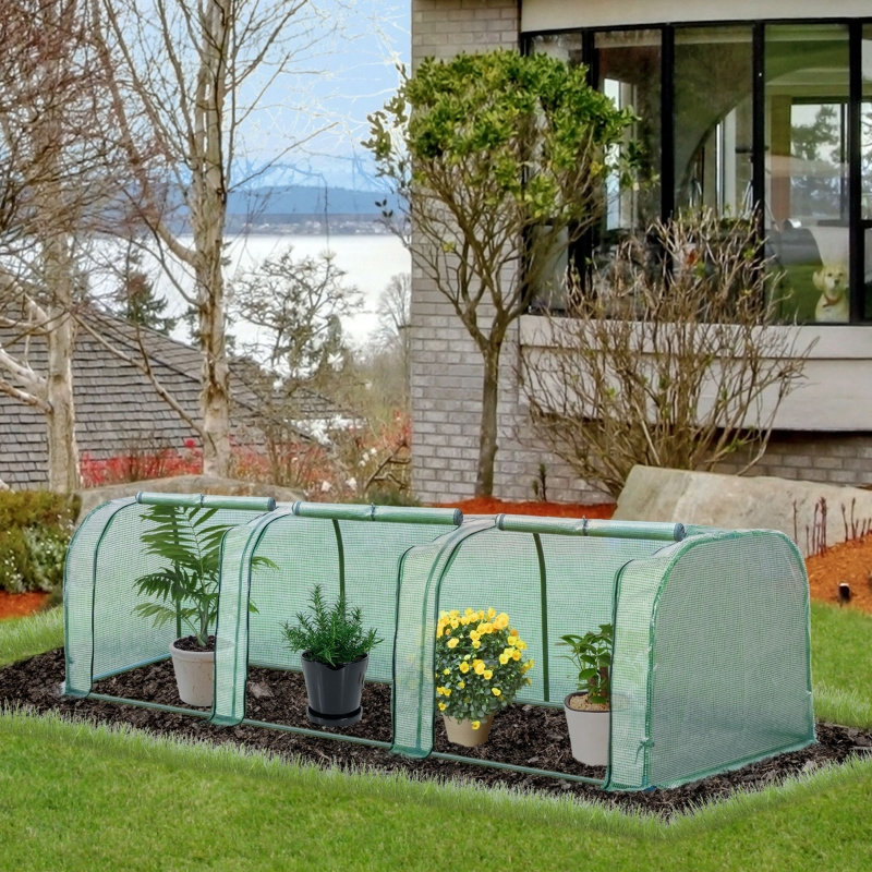 Outsunny Tunnel Greenhouse Green Grow House Steel Frame for Garden Zipper Doors 3.5x1x1m
