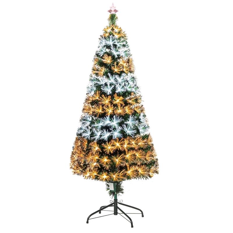 HOMCOM 5ft Artificial Pre-Lit PVC Christmas Tree Green