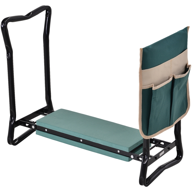 Outsunny Steel Frame Gardening Kneeler Seat w/ Pouch Green
