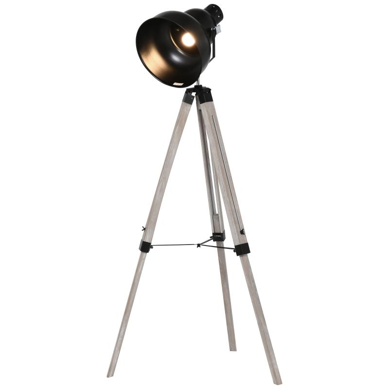 HOMCOM Pine Wood Height Adjustable Freestanding Tripod Floor Lamp Black