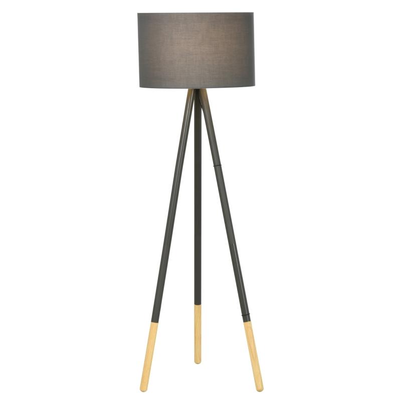 HOMCOM Steel Detachable Tripod Floor Lamp Grey