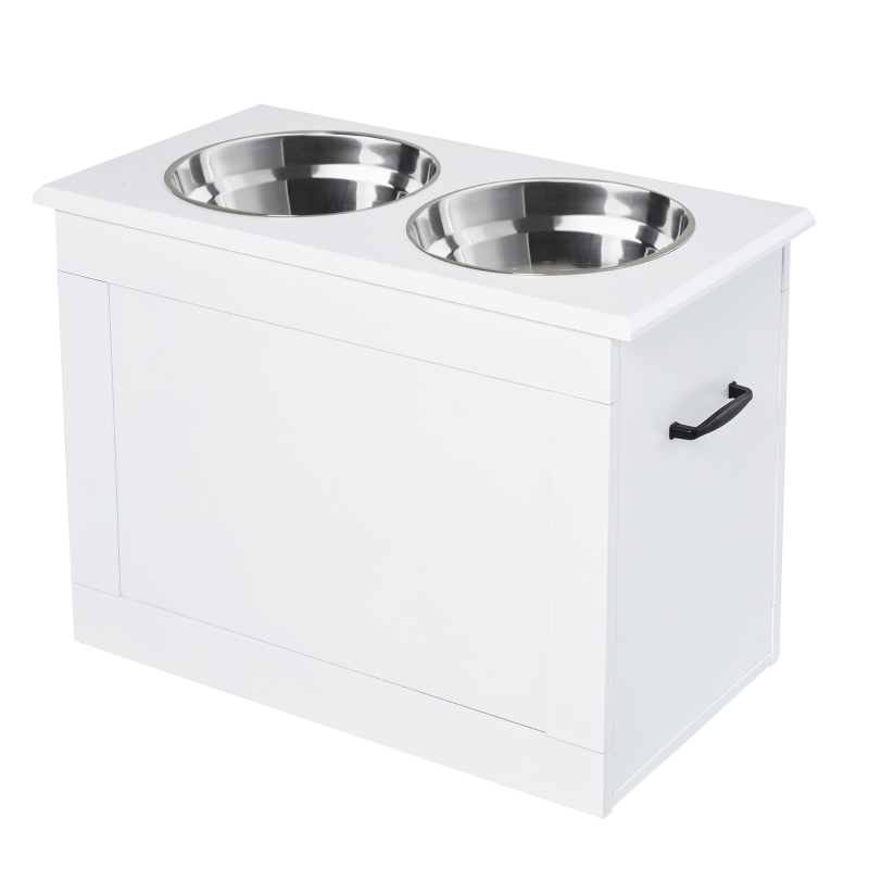 PawHut Raised Pet Bowls with Storage Function 2 Stainless Steel Dog Bowls Elevated Base