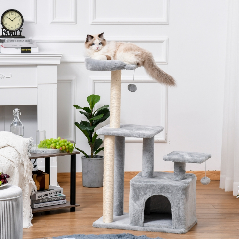 PawHut Cat Tree Tower w/ Scratching Posts Sisal Hanging Ball Condo 60 x 40 x 114cm