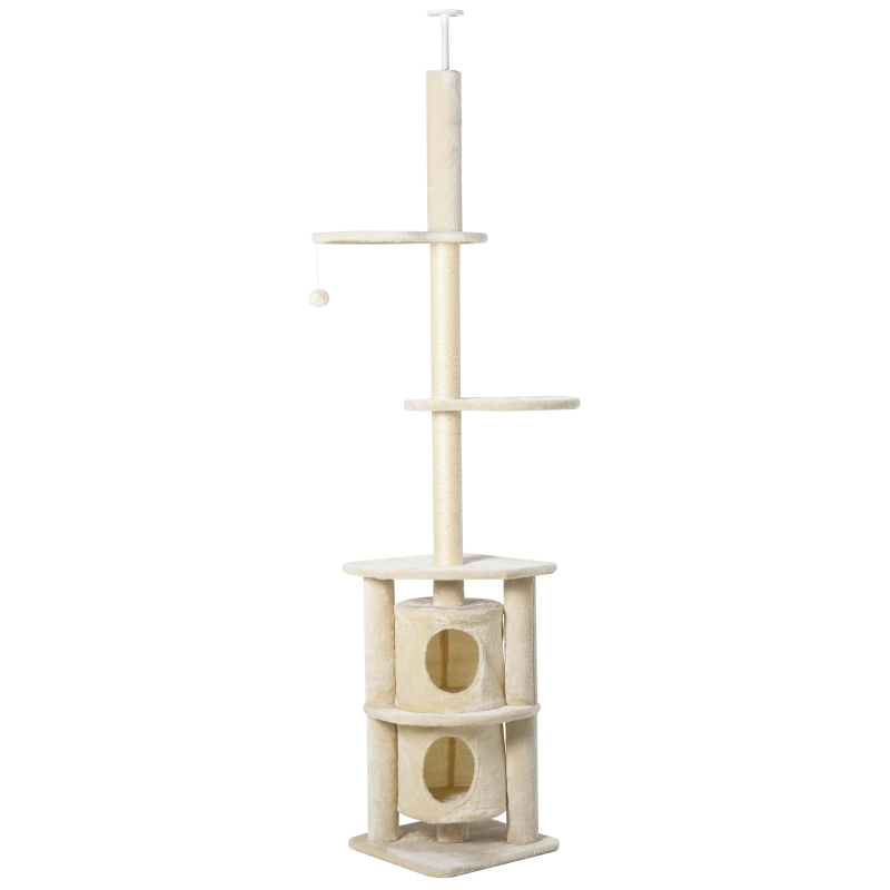 PawHut Cats 5-Tier Sisal Rope Scratching Tree w/ Dangle Toy Beige