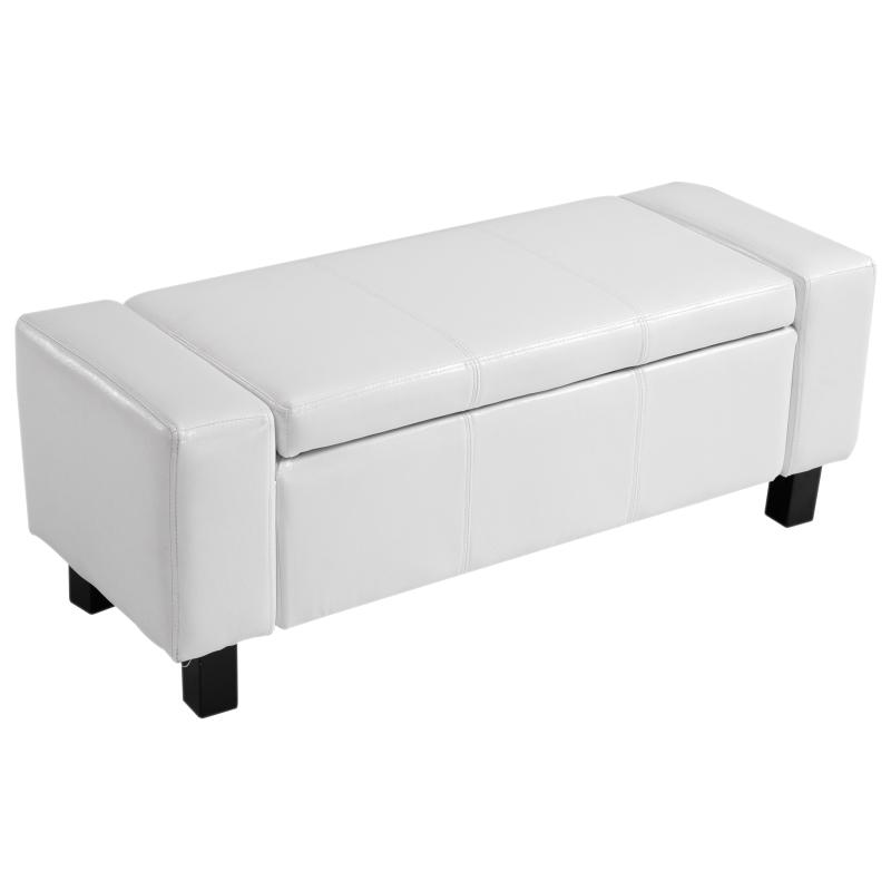 HOMCOM PU Leather Upholstered MDF Ottoman Storage Bench White
