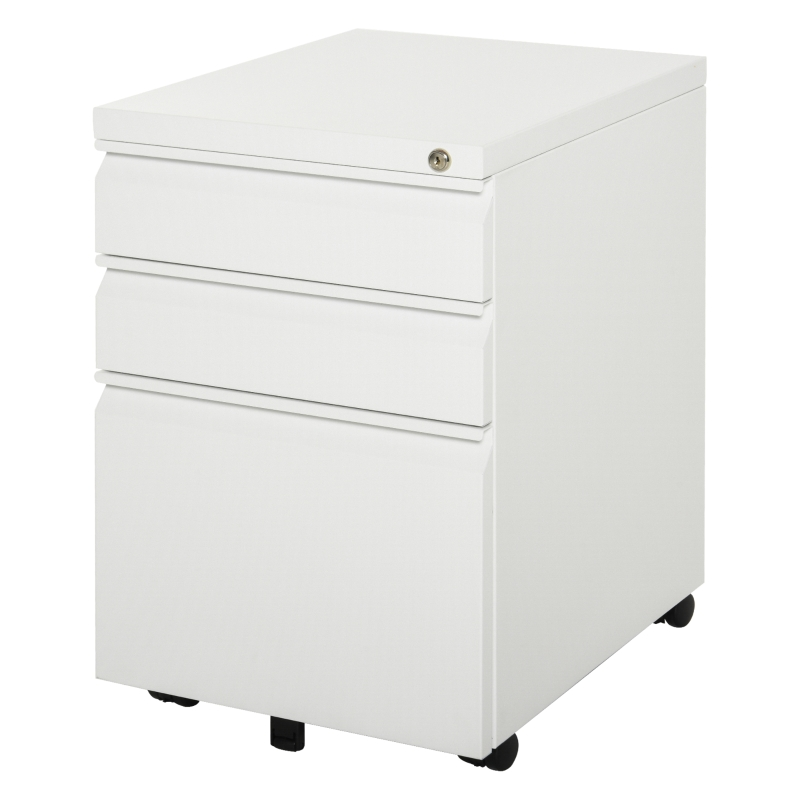 Vinsetto Mobile Vertical File Cabinet Lockable Steel 3-Drawer Rolling Filing Cabinet White