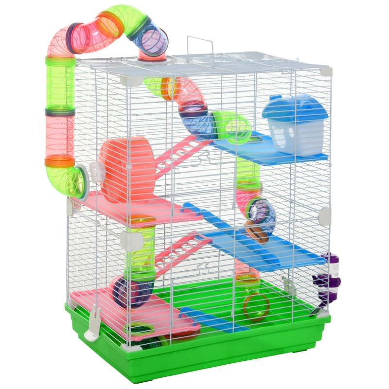 PawHut 5 Tier Hamster Cage Carrier Habitat Small Animal House w/ Exercise Wheels Tunnel