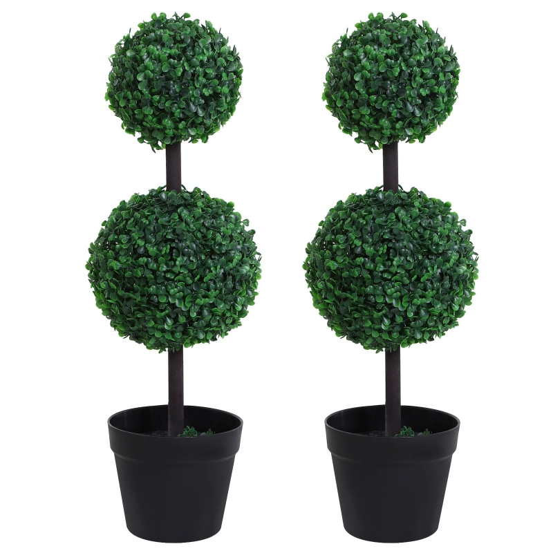 Outsunny PE Set of 2 Artificial Boxwood Double Ball Topiary Plant Tree's Green