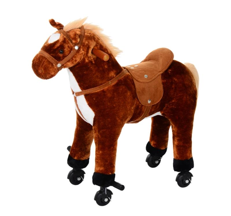 HOMCOM Kids Plush Ride On Walking Horse W/Sound-Brown