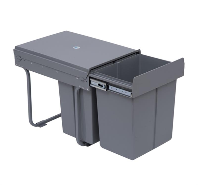 HOMCOM Kitchen Recycle Waste Bin 48x34.2x41.8 cm-Grey