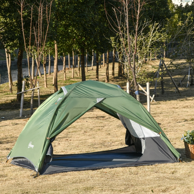 Outsunny Outdoor 2 Person Camping Tent Double Layer Waterproof with Carry Bag Glass Fiber