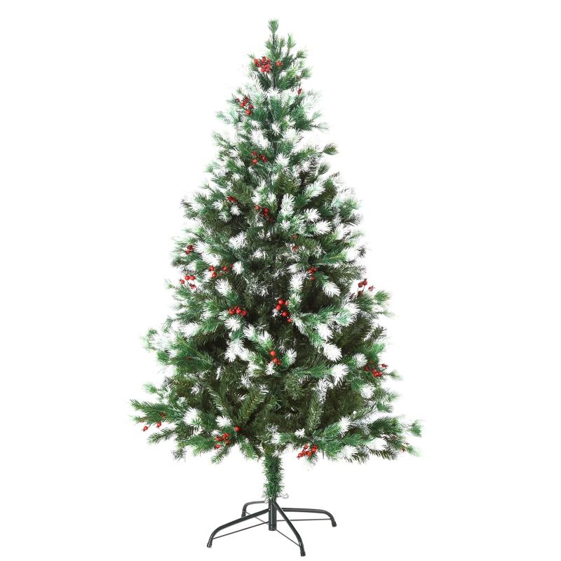 HOMCOM 1.5m Snowy Artificial Christmas Tree w/ Red Berries