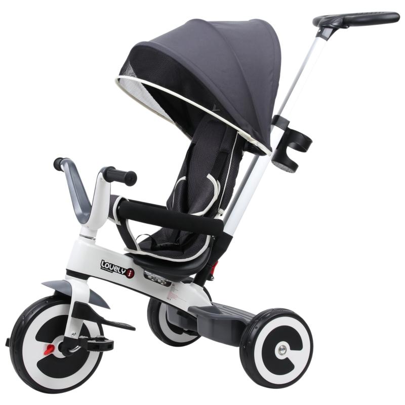 HOMCOM Baby Tricycle Children's 4 In 1 Trikes Kids Stroller W/ Canopy 3 Wheels