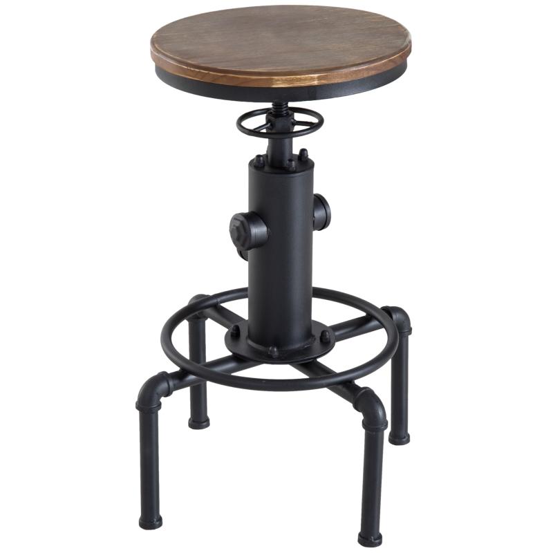 HOMCOM Bar stool Swivel Chair Dining Wooden Top Adjustable W/Footrest Pine Wood Steel Brown