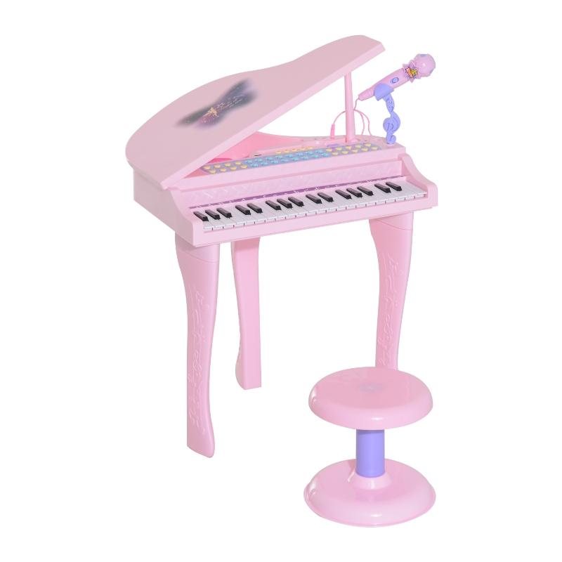 HOMCOM Mini Electronic  Piano W/Stool-Pink