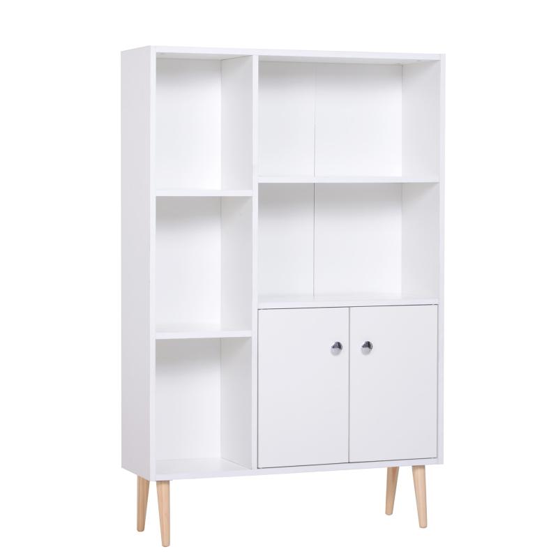 HOMCOM Open Bookcase Cabinet Shelves W/ Two Doors, 80W x 23.5D x 118Hcm-White