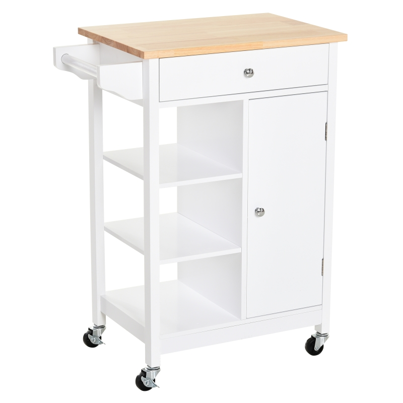 HOMCOM MDF Kitchen Storage Trolley White
