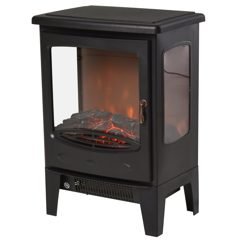 HOMCOM 1800W Tempered Glass Electric Fireplace Heater Black