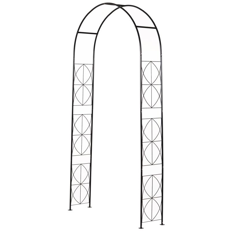 Outsunny Steel Frame Outdoor Arbor & Trellis Garden Arch Black