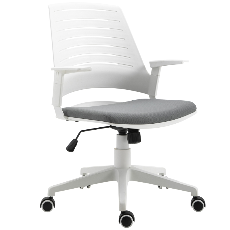 Vinsetto PU Plastic Adjustable Armrest Home Office Chair White