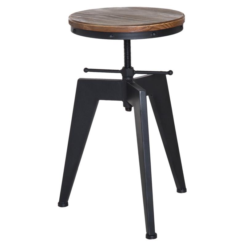 HOMCOM Swivel Bar Stool W/Wooden Top, Adjustable Height-Brown/Black