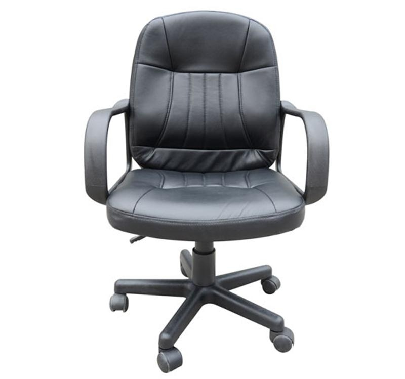 HOMCOM PU Leather 360 Swivel Home Office Chair with Armrest Black