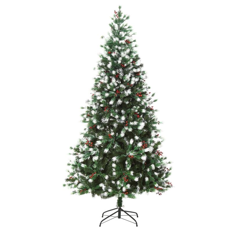 HOMCOM 1.8m Snowy Artificial Christmas Tree w/ Red Berries