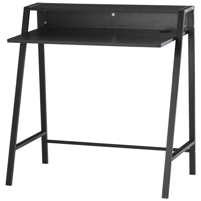 HOMCOM Computer Desk with Elevated Storage Shelf - Black