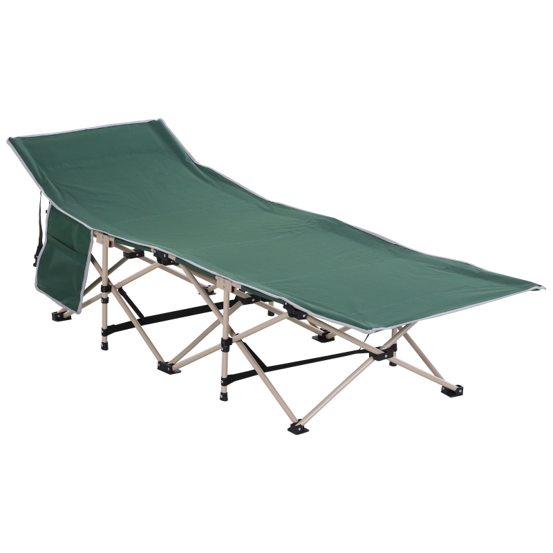 Outsunny Oxford Cloth Folding Single Camping Bed Lounger Green