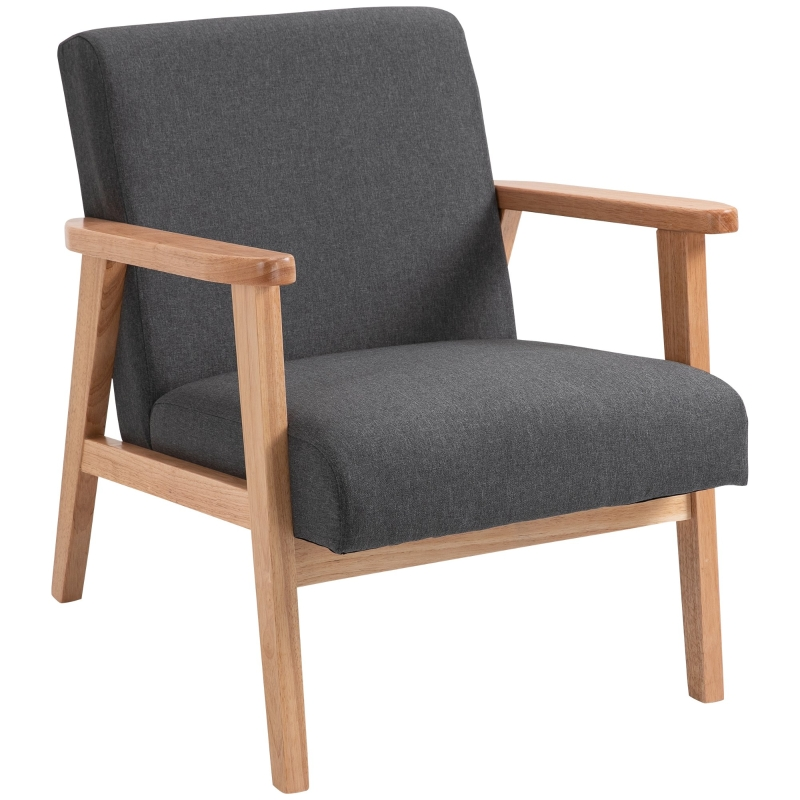 HOMCOM Modern Linen Dining Accent Chair with Rubber Wood Legs for Living Room Office