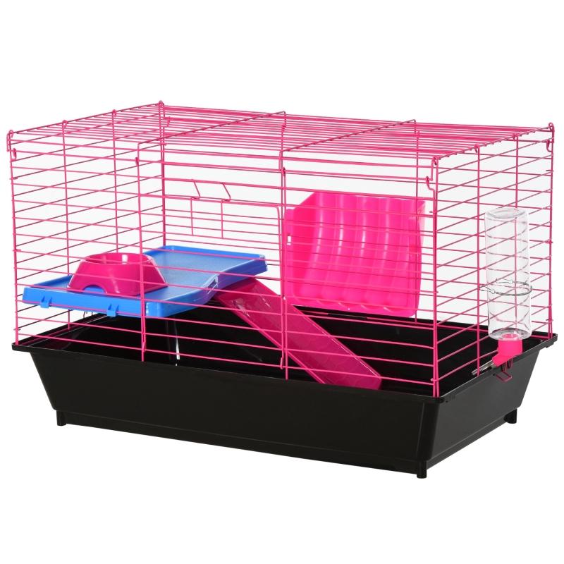 PawHut Dwarf Hamster Metal Cage w/ Tunnels Pink