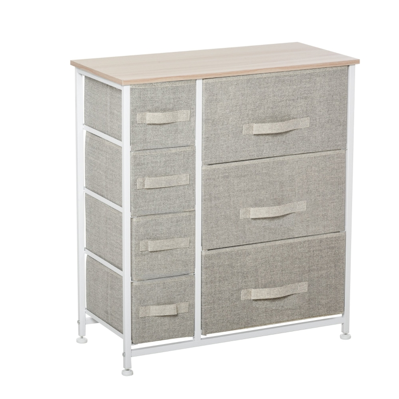 HOMCOM 7 Drawers Cabinet Organizer with Metal Frame for Home Office White Oak